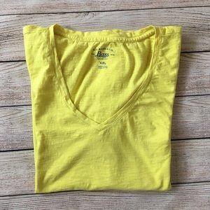 GH Bass V-neck Short Sleeve Yellow Shirt